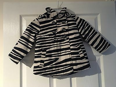 Next Girls Black White Hooded Coat Jacket  age 2 3 years
