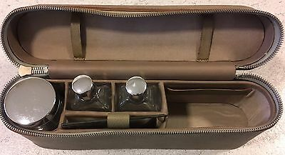 Leather Vanity Case With Glass Bottles Lovely Vintage Item