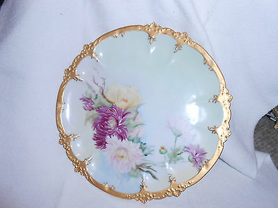 """GOA French Limoges hand painted plate with 7 mums 9 3/4"""" diameter"""