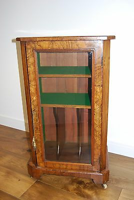 Antique Victorian walnut and marquetry pier  music cabinet