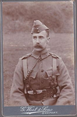 Vintage Cabinet Card Of A Soldier In Uniform By G West, Gosport
