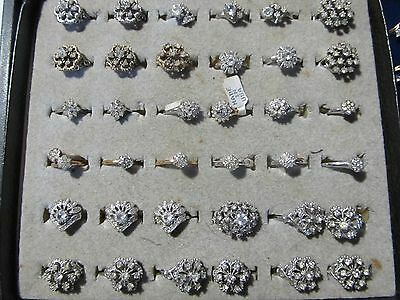 Lot of 36 Sterling Gold Plated Cubic Zirconia Cocktail Fashion Rings