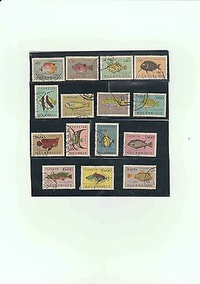 Portuguese Mocambique 1951 Fish Part Collection 15 Used Stamps