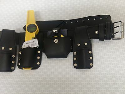 Leather Scaffold Tool Set Belt with High Viz Magnetic Level 250 mm