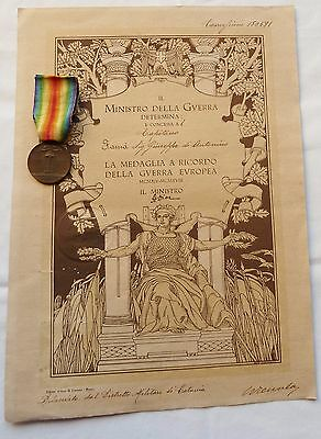 Italian Lot Interallied Medal +The Diploma Victory Italy Wwi 1918 Catania Sicily