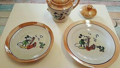 Early 1930s Japanese Lustre Miniature Mickey Mouse Plate, Saucer, Dish, A/F