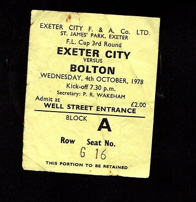 1978-1979 Exeter City v Bolton Wanderers Rare League Cup Ticket   POST FREE