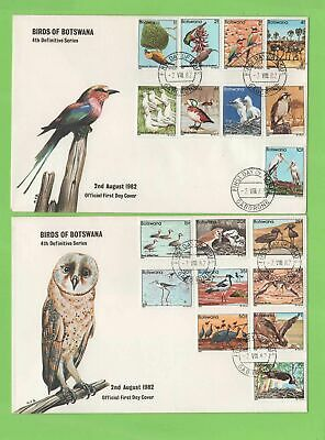 Botswana 1982 Birds definitive set on two First Day Covers