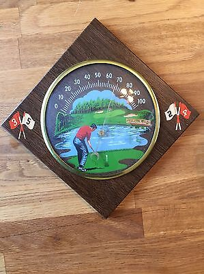 Vintage 1969 Rodan Creations The Sportsman Golfing Thermometer Wall Plaque