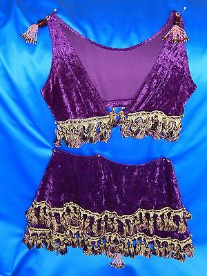 Hand Made Deep Purple Velvet Belly Dance Hip Scarf/Bra Top, Fringed