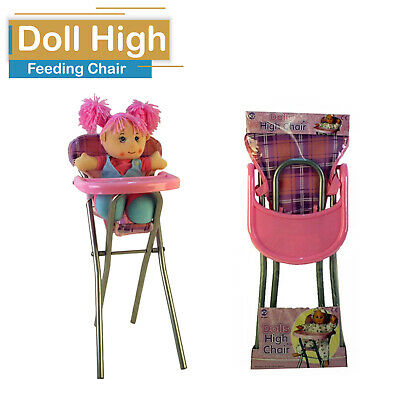 Baby Girls Pink  Doll Pretend  High Folding Play Chair Kids Feeding Toy Xmas New