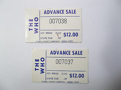The Who Concert Ticket Stubs 8/8/1976 Gator Bowl ( Lot Of 2 )