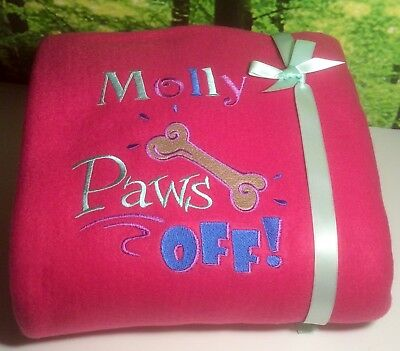 Personalised Pet Blanket - ANY NAME, Large Fleece Blankets LOVELY COLOURS