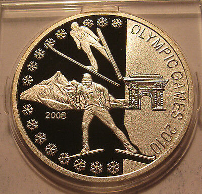 Korea 1000 Won 2008 Vancouver Olympics 2010 Silver Proof!!!