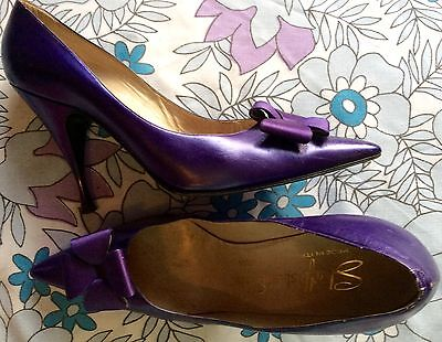 vintage 50s pearlised blue leather high stiletto heel winklepicker party shoes 6