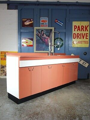 Vintage Mid Century 1960s 70s English Rose Kitchen Cabinets Freestanding + Wall