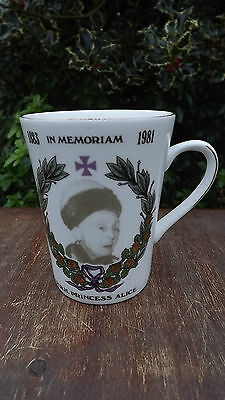 1981 Death of Princess Alice of Athlone In Memoriam Mug Number 8