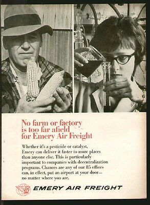 Emery Air Freight 1966 Farm Or Factory Original Print Ad