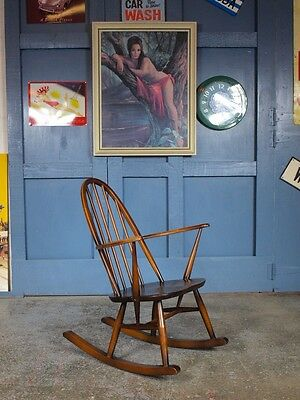 Retro Vintage Mid Century 60s Ercol Rocking Chair Rocker Armchair Antique Danish