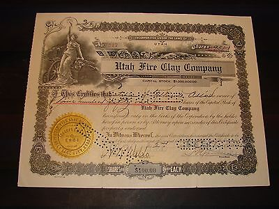 1935 Utah Fire Clay Company Original Stock Certificate Vintage