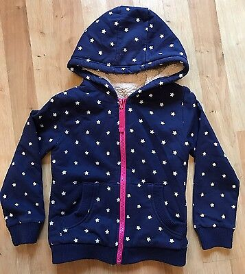 Girls Navy Fleece Lined Jacket with All Over Star Design. Hooded. 4-5 Years