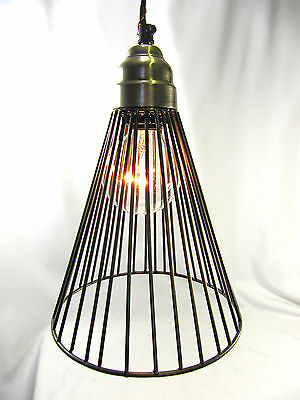 Hanging Pendant Light Chandelier Pewter Finish Wire Cage Design Metal