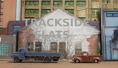 #340 O scale background building flat  WHITE BRICK  *FREE SHIPPING*