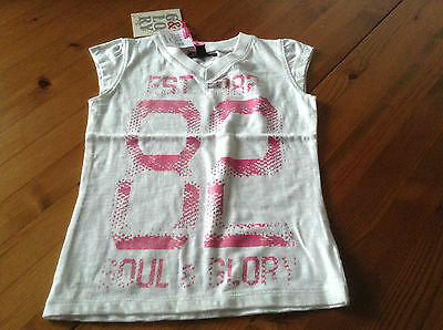 white and pink t-shirt soul and glory with number 82 on front 3-4 years BNWT