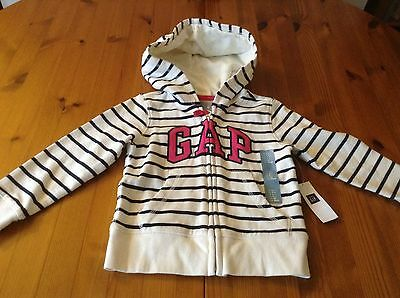 Genuine Gap hoodie jacket white with blue stripe and pink logo age 2 years BNWT