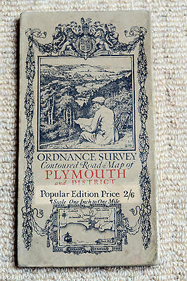 Ordnance Survey Popular Edn 1-inch Map of Plymouth, sheet 144 on cloth 1919