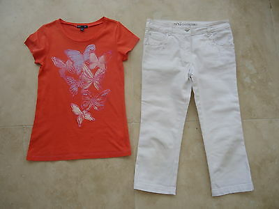 GAP girls t-shirt + George white cropped jeans AGE 10-11