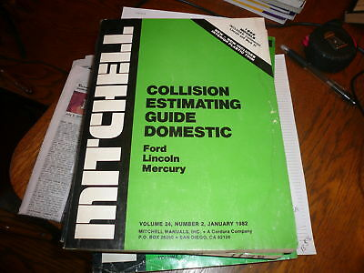 1982 Mitchell Collision Guide Ford Lincoln Mercury