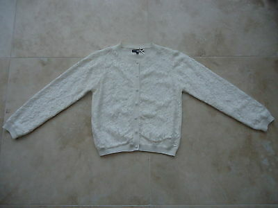 M&S AUTOGRAPH COLLECTION Cream LACE overlay design cardigan  AGE 9-10