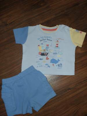 baby boy's outfit age 0-3 months shorts and t-shirt set blue shorts set suit