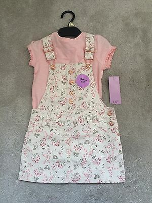 2-3 T-shirt Dungaree Style Dress Pink Set BNWT