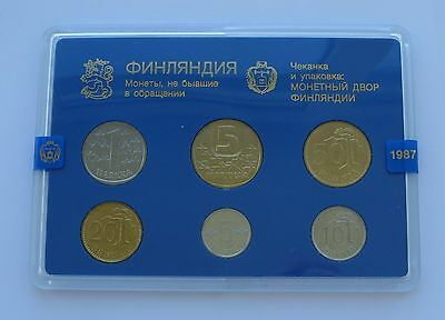 Finland 1987 Russian Edition Official Coin Mint Set KMS UNC !!!!