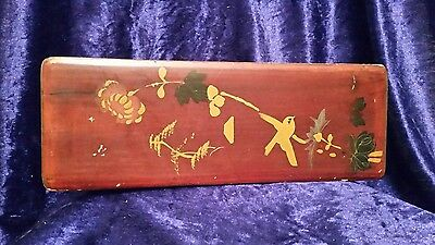 Vintage Japanese red coloured box with bird and floral hand painted design