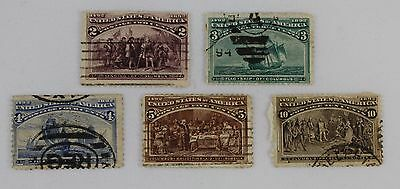 USA 1893 5 Stamps Sg236-239 & 242 Used