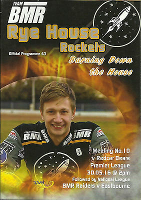 RYE HOUSE v REDCAR SPEEDWAY PROGRAMME - 30th MAY 2016 - MEETING No. 10