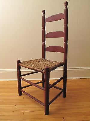 Antique 19Th C Primitive Shaker Ladderback Chair Splint Seat Orig Oxblood Paint