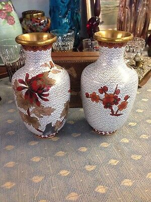 """Pair Chinese cloisonne  vases, 6"""" nice condition."""