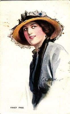 A32. Vintage Postcard. C W Barber. Fancy Free. Glamorous lady in large hat.