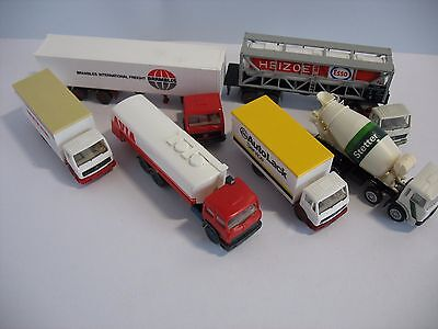 6 X Wiking Ho Lorries / Cement Mixer / Petrol Tankers