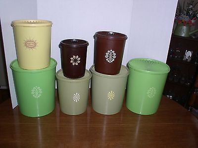 Vintage Tupperware 7 Pcs.  Servalier Containers - Mixed Lot