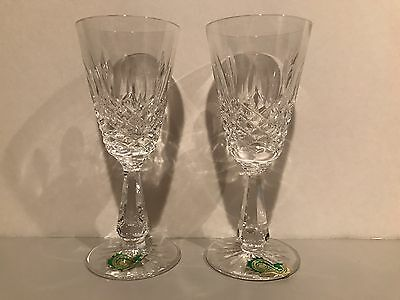Waterford Lead Crystal Lismore Water Wine Goblets Pair Lot of 2 Beautiful Rare
