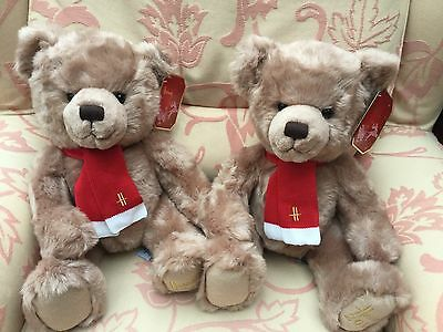 "Exclusive Harrods Christmas Twins 2013 Bears Large 13"" Sitting BNWT VRare"