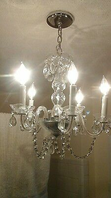 Vintage Italian Crystal 5 arm Chandelier w/ Crystal Arms Bobeches -WOW