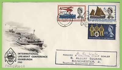 G.B. 1963 Lifeboat Conference phosphor First Day Cover, Conf. slogan