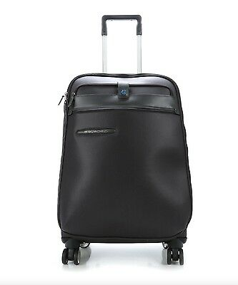 Piquadro Italy Black Medium Spinner Wheeled Expansion Trolley Suitcase TSA Lock