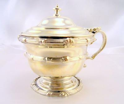 Solid Silver Heavy MUSTARD POT Blue Glass Liner COMYNS